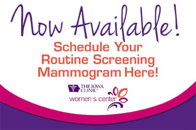 Now Available! Schedule your routine screening mammogram here!