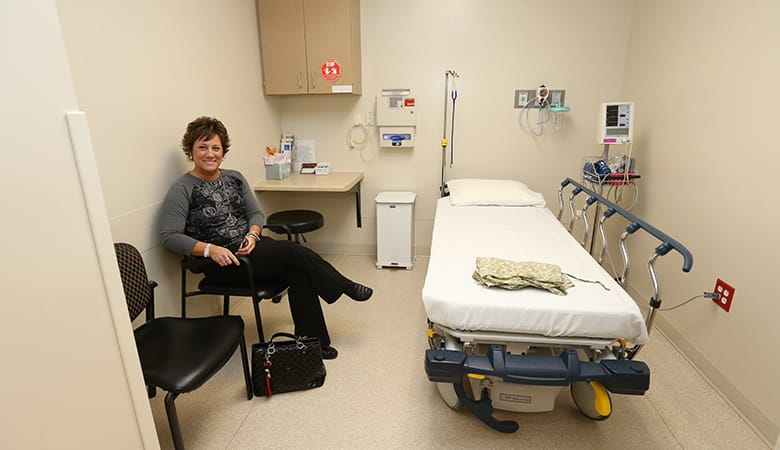 Woman waiting for colonoscopy