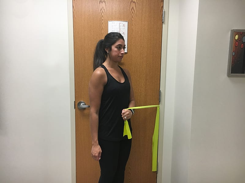 Shoulder internal rotation end
